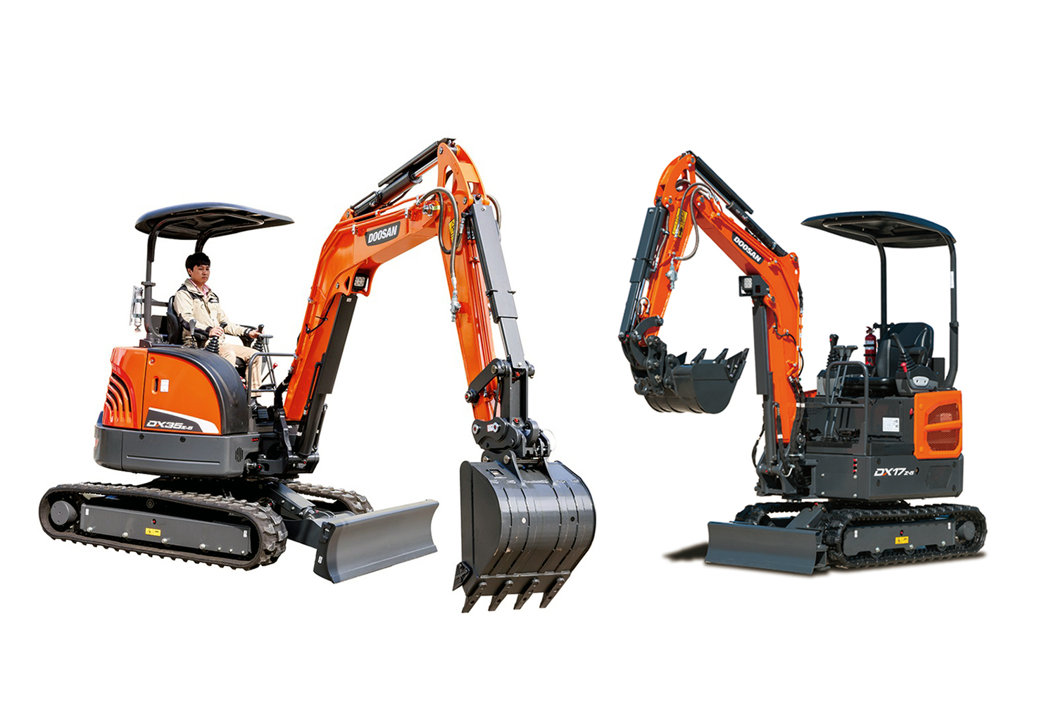 Doosan Infracore, which has been growing at a staggering rate in the Korean mini excavator market, recently launched the DX35z-5 (left) and DX17z-5 (right) mini excavators.